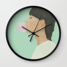 Blowing Bubble Gum Wall Clock