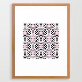 Black and Pink Tile Framed Art Print