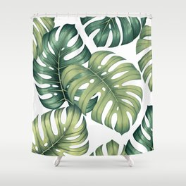 Monstera botanical leaves illustration pattern on white Shower Curtain