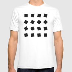B/W square rotation Mens Fitted Tee MEDIUM White