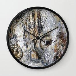 Metallic Melodrama II - Mixed Media Beeswax Encaustic Acrylic Abstract Modern Fine Art, 2015 Wall Clock