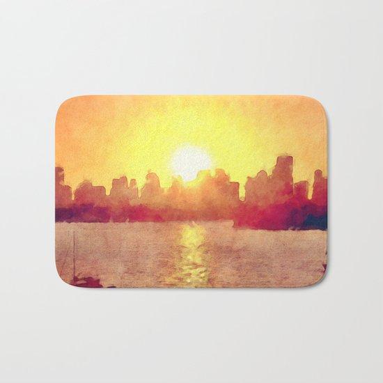 Sunset Over Miami Florida Bath Mat