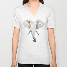 Geosafari | Elephant (White) Unisex V-Neck