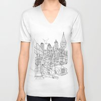 london V-neck T-shirts featuring London! by David Bushell