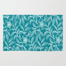 Vintage Lace Floral Turquoise Rug