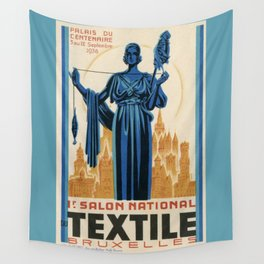 1938 Art deco Textile Expo Brussels Wall Tapestry
