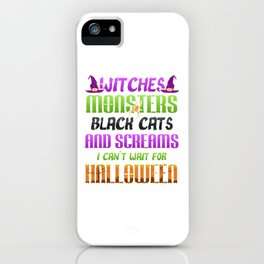 Witches Monsters Black Cats and Screams Halloween iPhone Case