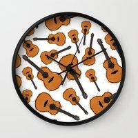 guitar Wall Clocks featuring Guitar by elyinspira