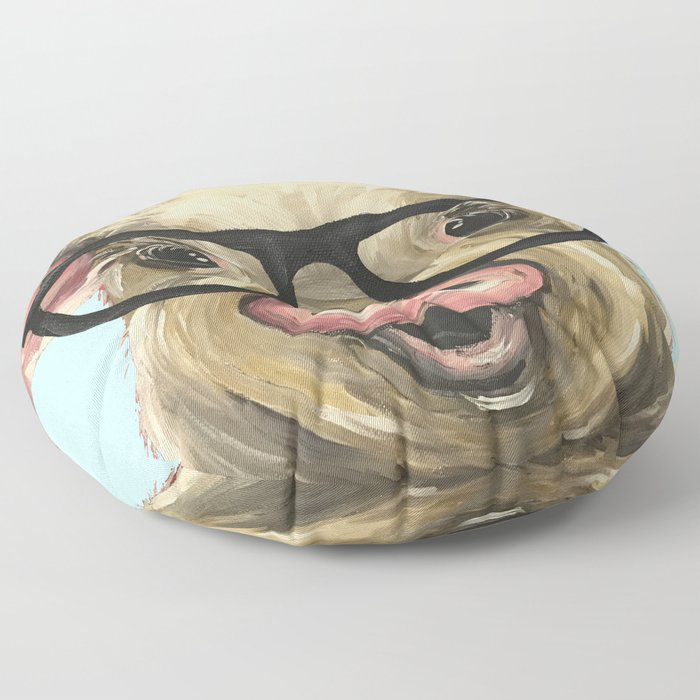 Cute Pig Painting Farm Animal With Glasses Floor Pillow By