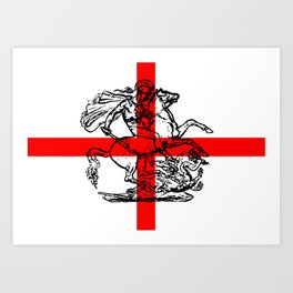 George and the Dragon Patriotic Flag Art Print