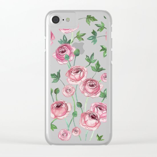 Painted Pink Ranunculus Pattern Clear iPhone Case