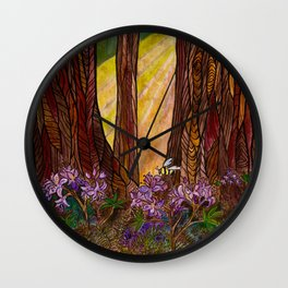 Rays in the Redwoods Wall Clock