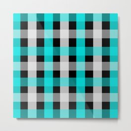 blue black checks Metal Print
