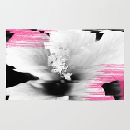 Floral glitch | modern black white flower photography pink watercolor brushstroke glitch effect Rug