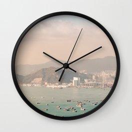 Panorama of West Hong Kong Harbour Wall Clock