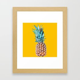 Pineapple Ananas On A Yellow Mellow Background #decor #society6 #buyart Framed Art Print