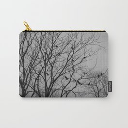 Roosting birds on silhouette tree Carry-All Pouch