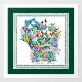Wisconsin Wildflowers with border Art Print