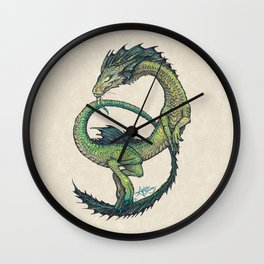 Rain Dragon by Amber Marine ~ Watercolor & Ink dragon/serpent art, (Copyright 2017) Wall Clock