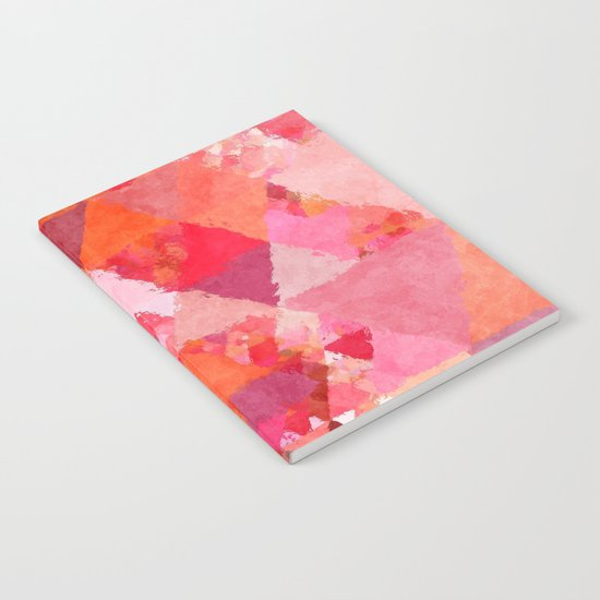 Into the heat - Pink and red watercolor Triangle pattern Notebook