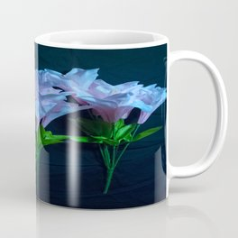 pink and blue flowers on black Coffee Mug