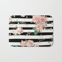 VINTAGE FLORAL ROSES BLACK AND WHITE STRIPES Bath Mat