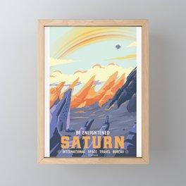 Retro Space Travel Poster - Saturn. Framed Mini Art Print