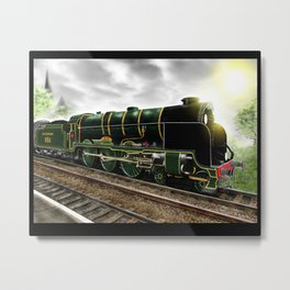 """Lord Nelson"" Antique Steam Locomotive [Digital Drawing] Metal Print"