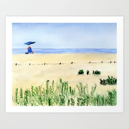 Assateague Island Watercolor Beach Painting Art Print