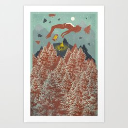 RED FLOATING FOREST Art Print