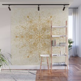 Sepia Snowflake Doodle Wall Mural