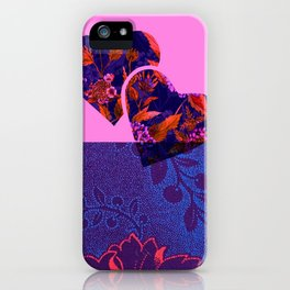 Fuchsia and Purple Floral Hearts iPhone Case