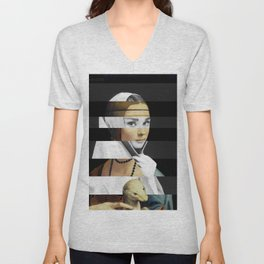 Leonardo da Vinci's Lady with a Ermine & Audrey Hepburn Unisex V-Neck