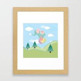 Elephant and Balloons, nursery decor , Framed Art Print