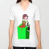 chihiro V-neck T-shirts featuring Chihiro Fujisaki by hellokittyloli