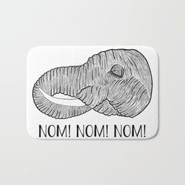 Elephant NOM! NOM! NOM! White Background Bath Mat