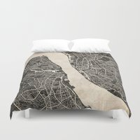 liverpool Duvet Covers featuring liverpool map ink lines by Les petites illustrations