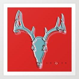 Deer Skull Antlers Outline on Red Art Print
