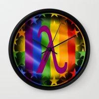 lesbian Wall Clocks featuring Sappho Lesbian Symbol by SwanniePhotoArt