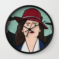 agent carter Wall Clocks featuring Agent Carter by saintsandstorms