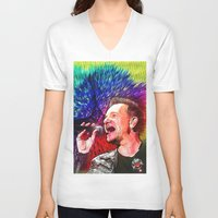 u2 V-neck T-shirts featuring U2 / Bono 3 by JR van Kampen