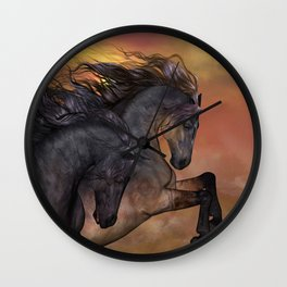 HORSES - On sugar mountain Wall Clock