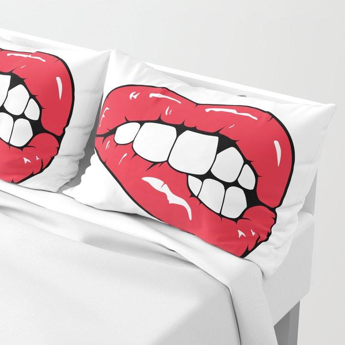 Red Lips Pop art Pillow Sham
