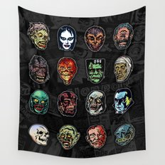 Horror Movie Monsters Masks (color) Wall Tapestry