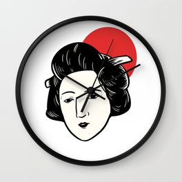 Japan Flag Geisha Japanese Entertainer Gift Wall Clock