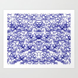 Blue Wild Flowers Art Print