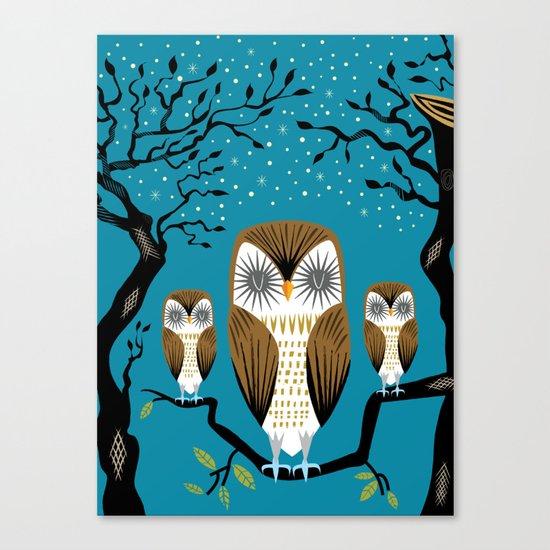 Three Lazy Owls Canvas Print
