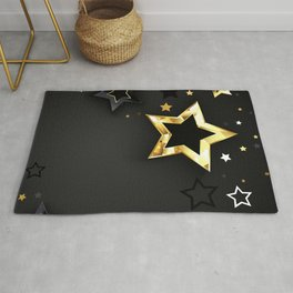 Gray Background with Black Stars Rug