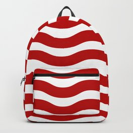 Red Abstract Wavy Lines Pattern Backpack