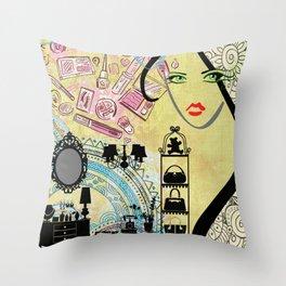 Beauty Addict Throw Pillow